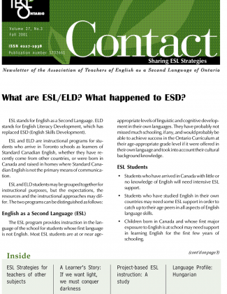 Contact Fall 2001 Issue Cover