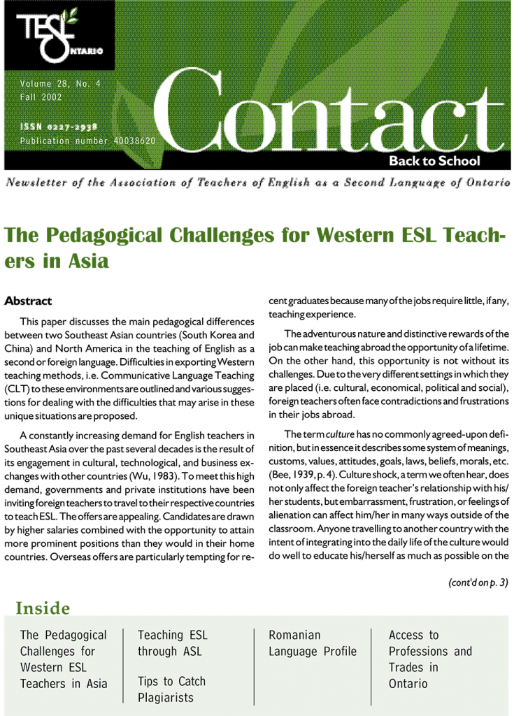 Contact Fall 2002 Issue Cover
