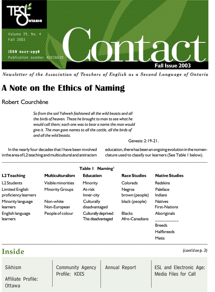 Contact Fall 2003 Issue Cover