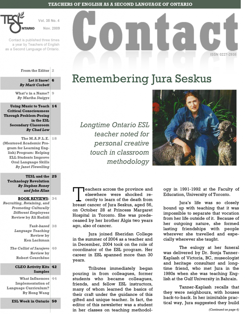 Contact Fall 2009 Issue Cover