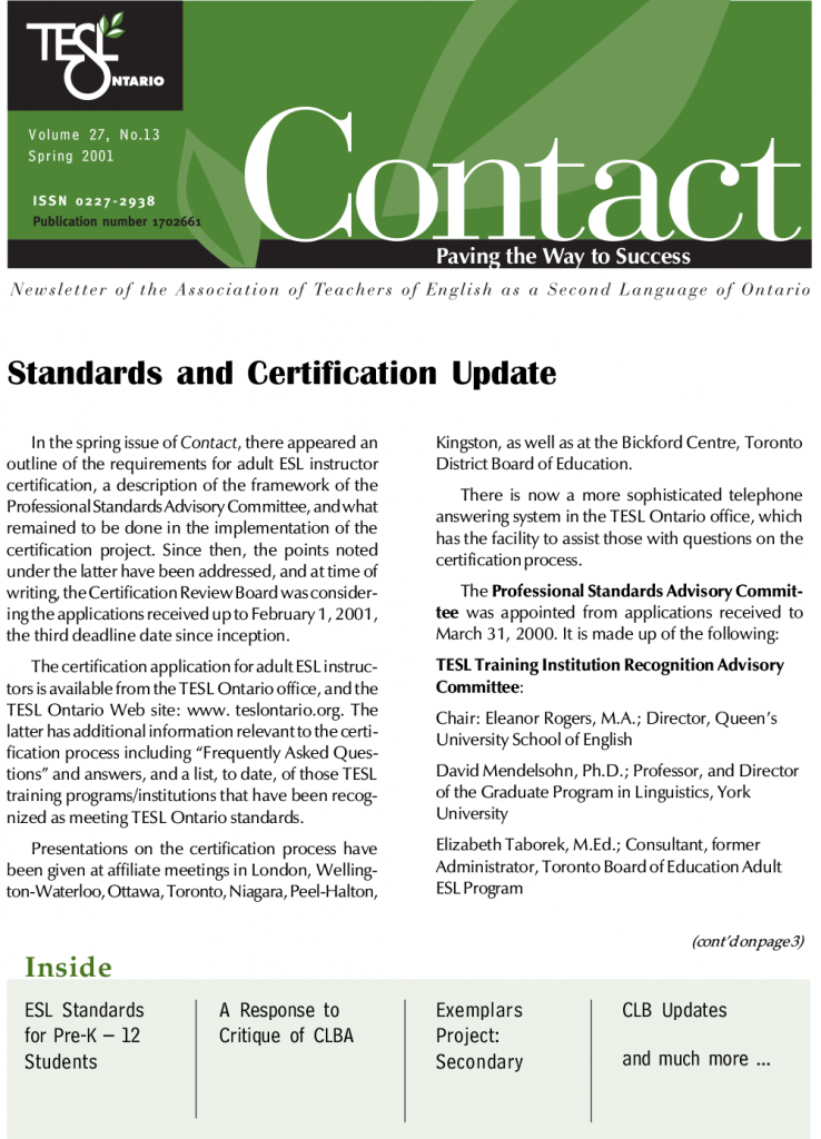 Contact Spring 2001 Issue Cover