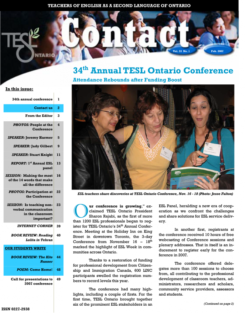 Contact Spring 2007 Issue Cover