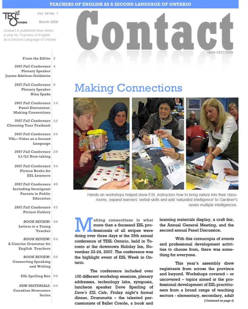 Contact Spring 2008 Issue Cover