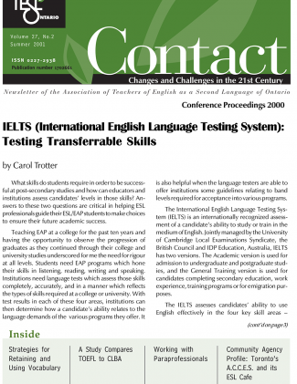 Contact Summer 2001 Issue Cover