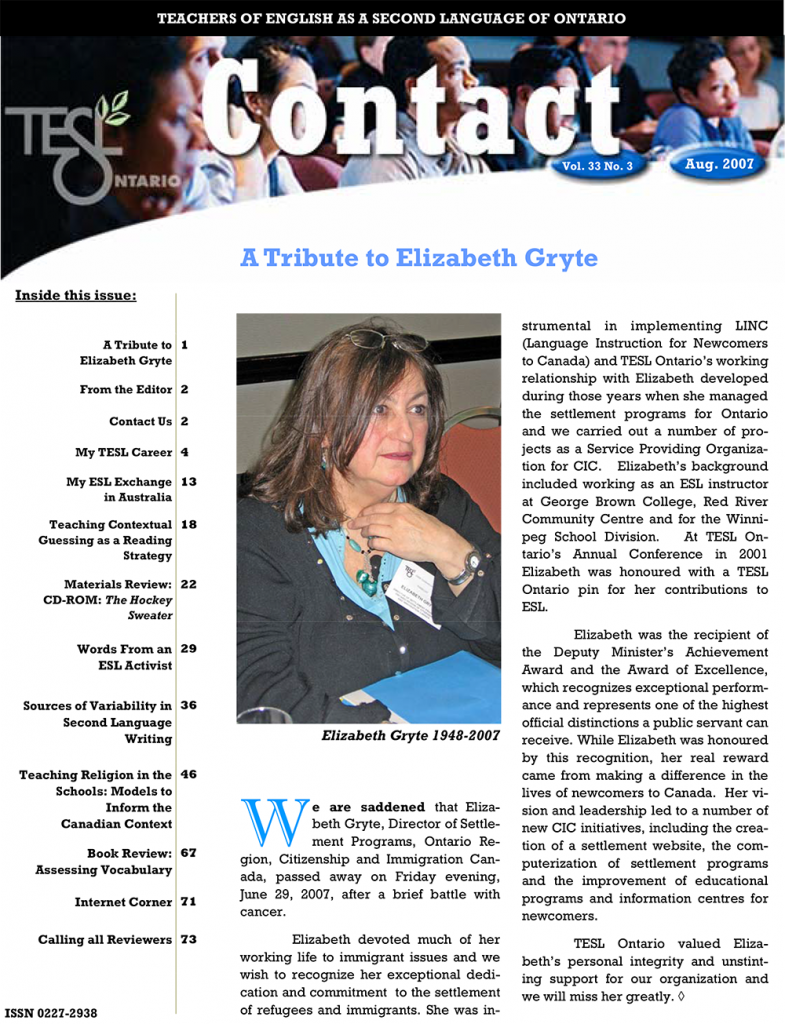 Contact Summer 2007 Issue Cover