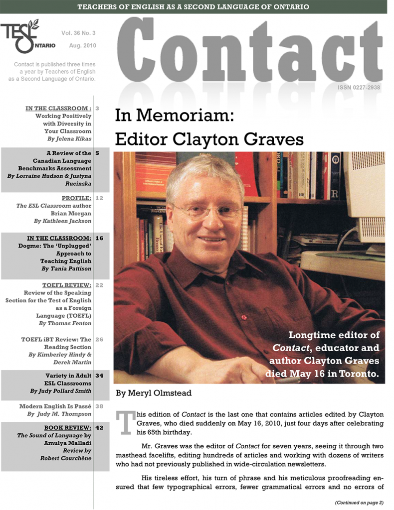 Contact Summer 2010 Issue Cover